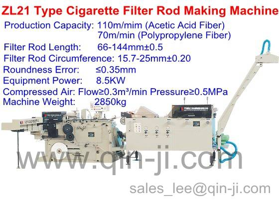 ZL21 Type Cigarette Filter Rod Making Machines