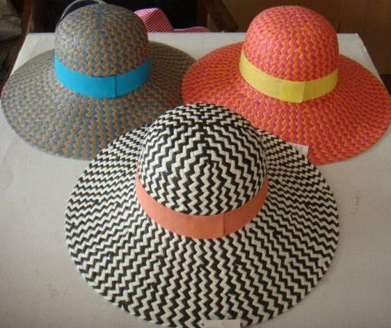 Paper straw hats with big brim, lady fashion hats.