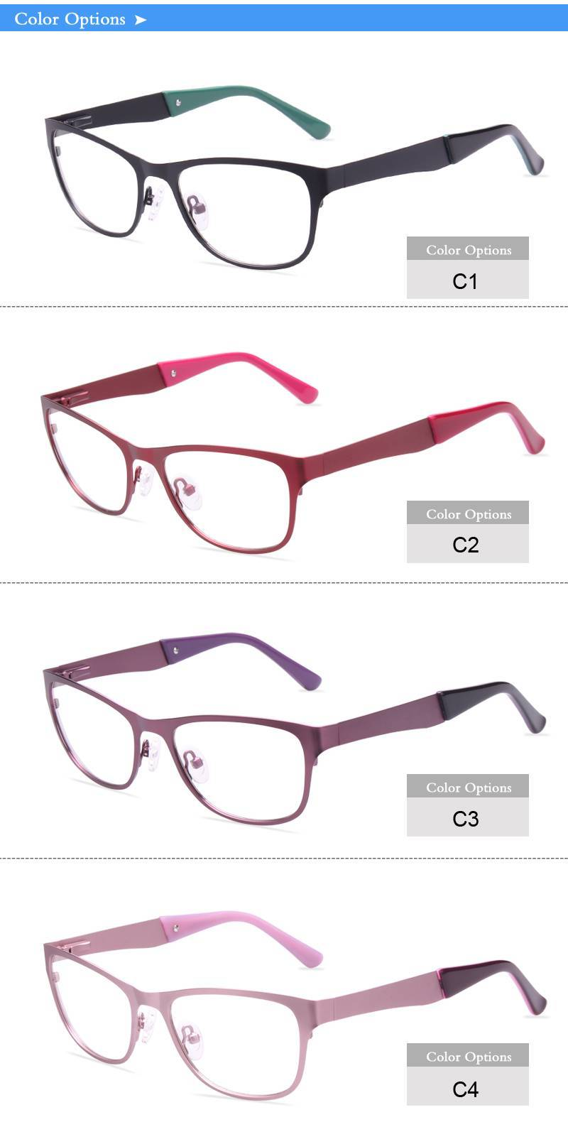 colorful temple stainless steel eyeglasses frames ready in stock
