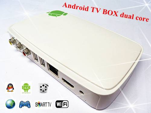 white HD android 4.2 tv box iptv internet WIFI DUAL CORE
