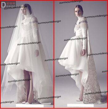 Surmount 2015 Latest Designs Royal A Line Pears Short Front Long Back Arabic Weding Dress