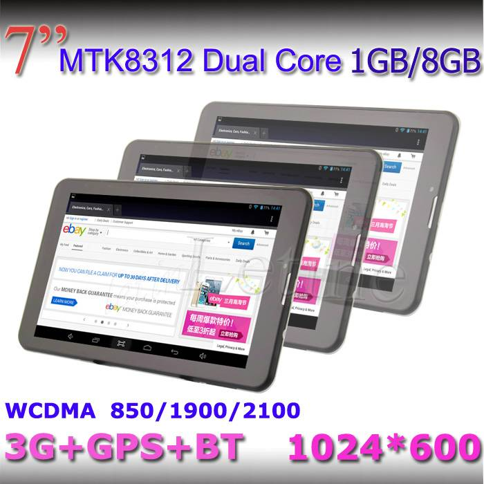 7-inch Android 4.2 Tablet PC, MTK8312, Dual Core, Supports GPS/BT/3G, WCDMA 850/1900/2100MHz