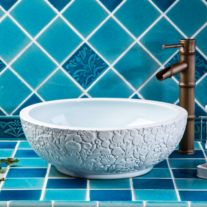Restaurant Modern Artistic Luxury European Style Bathroom Without Faucet Porcelain Wash Basin Sinks