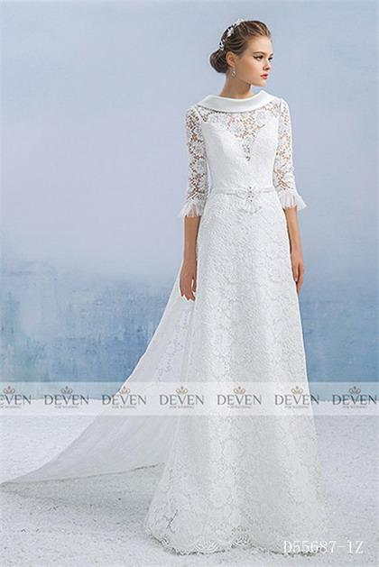 3/4 Sleeves Round Collar Beaded Bow Lace A-Line Gown