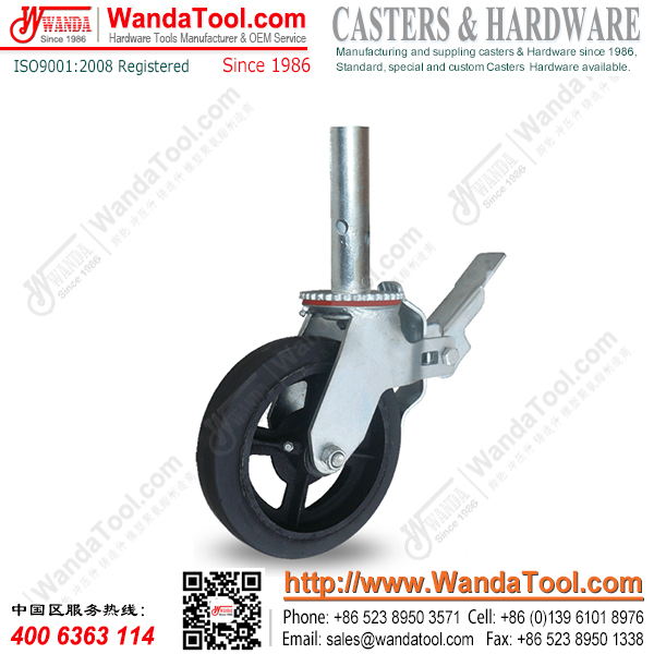 8 inch Pipe Stem Scaffold Caster with Moldon Rubber Wheel