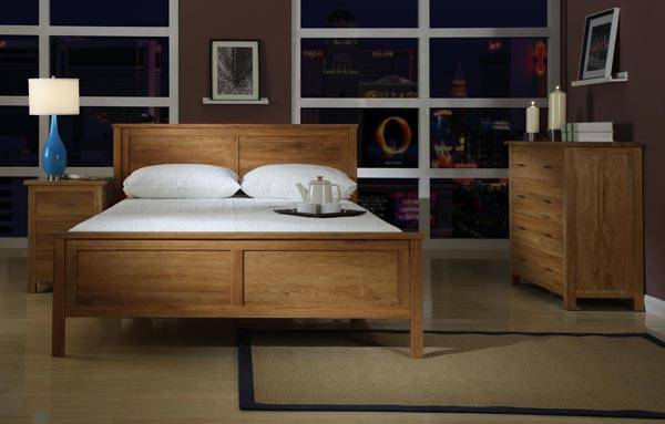 Solid Oak Double Bed Modern Design