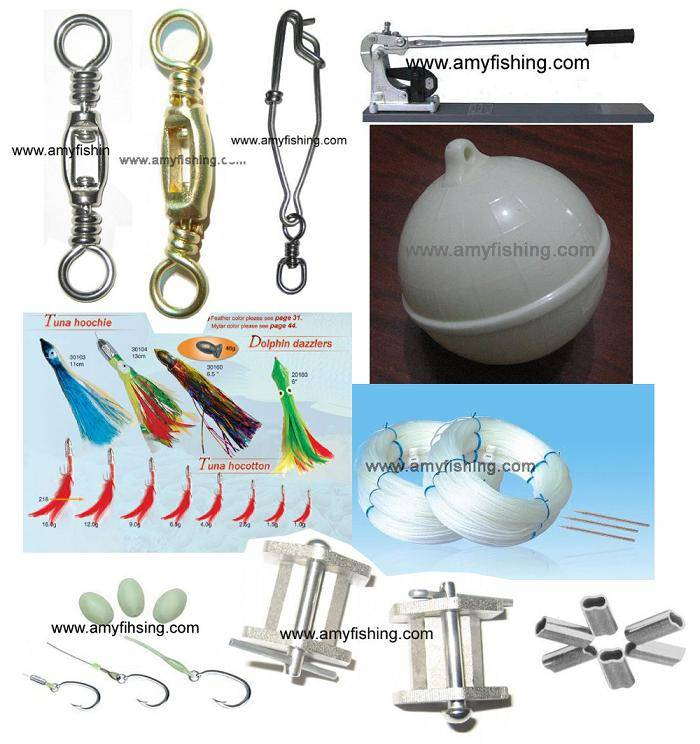 tuna fishing tackle, box swivel, dies set, sea lighter, duty crimper, wire cutter, hand swanger,