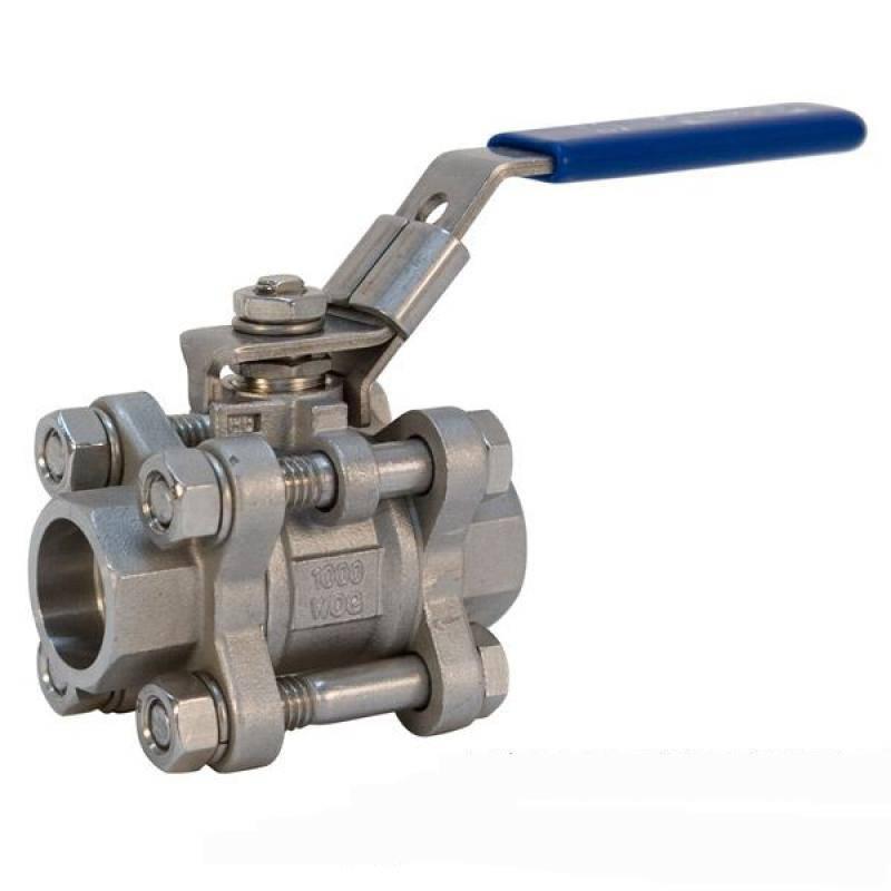 SS316 1/4 3-pc socket weld ball valve