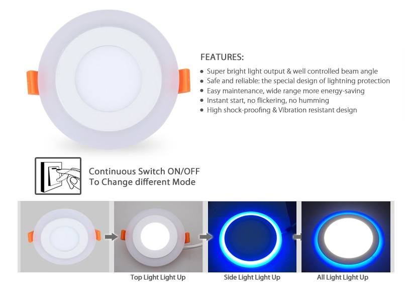 Acrylic Double Color LED Flat Panel Light 9W Daylight and Blue CE RoSH
