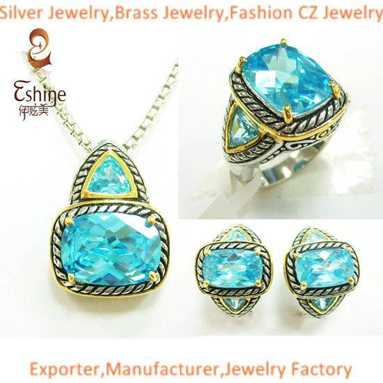 Wholesale Yurman style Brass jewelry Designer inspired jewelry set with Aqua CZ stones