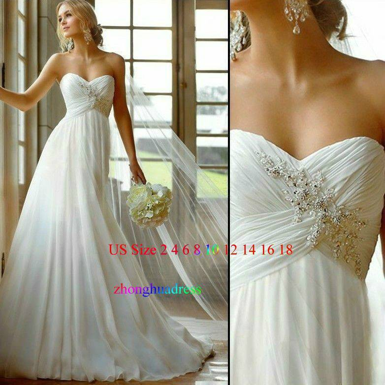 Hot Stock US Size 2-4-6-8-10-12-14-16-18-20 White/Ivory Chiffon Applique Wedding Dress Bridal Dress