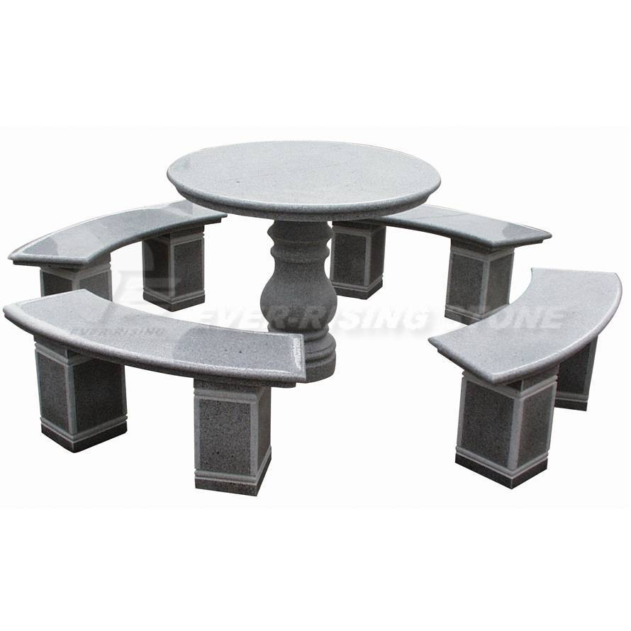 EL1004 China Grey Granite Garden Circular Table and Benches