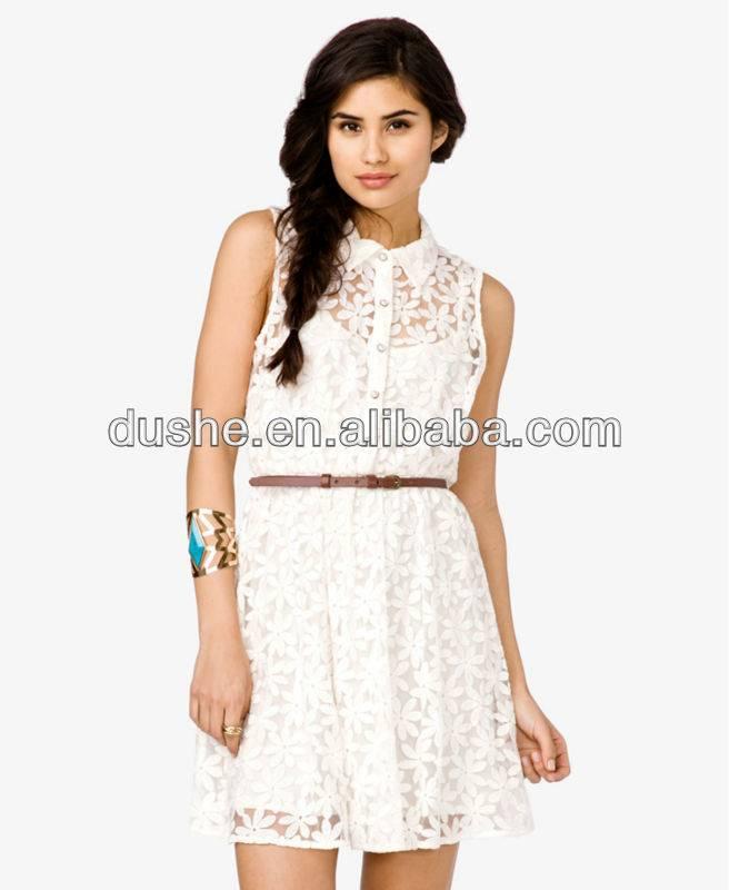 2013 Ladies Sleeve Fashion White Lace Dress S20309