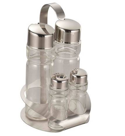 Four-Piece Glass Condiment Set with Holder FYCD-15