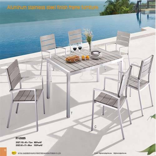 Stainless Steel Finish Tube K.D table / Stacking Chair for garden and outdoor (RY-2002S)