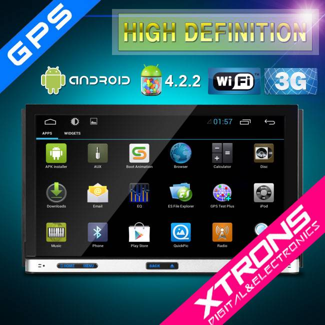 7 Android 4.2.2 Multi-Touch Motorized Screen WIFI Double Din Car DVD Player With OBD2 Funtion