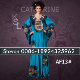 Blue velvet embroidery rhinestones kaftans for african women
