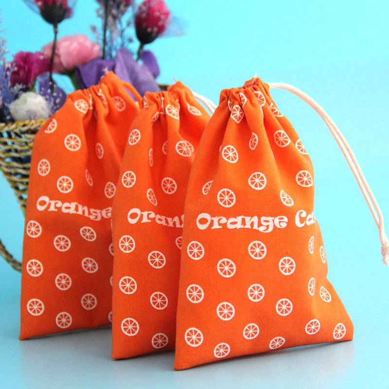 sweet orange cotton jute pouch for packing candy
