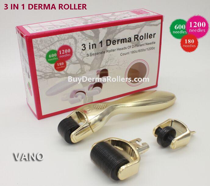 3 IN 1 Derma Roller 3 in 1 Microneedle Skin Set Therapy Derma Roller 180/600/1200 Needles Anti Aging