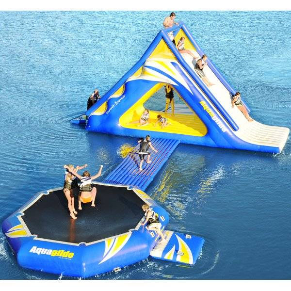 inflatable water trampoline with slide