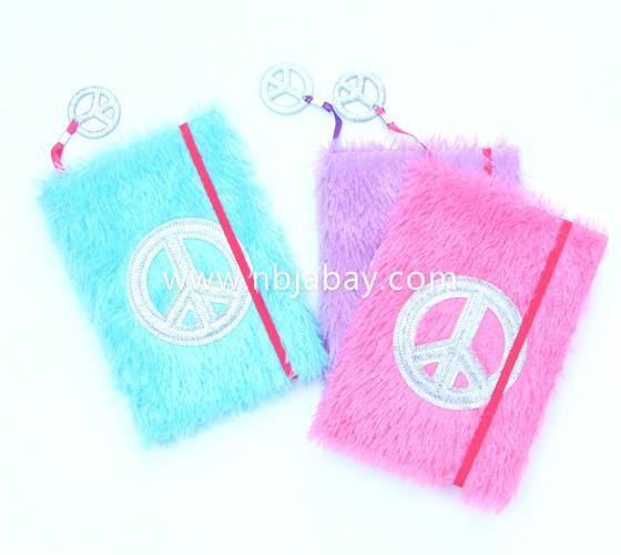 three colors plush journal with charms