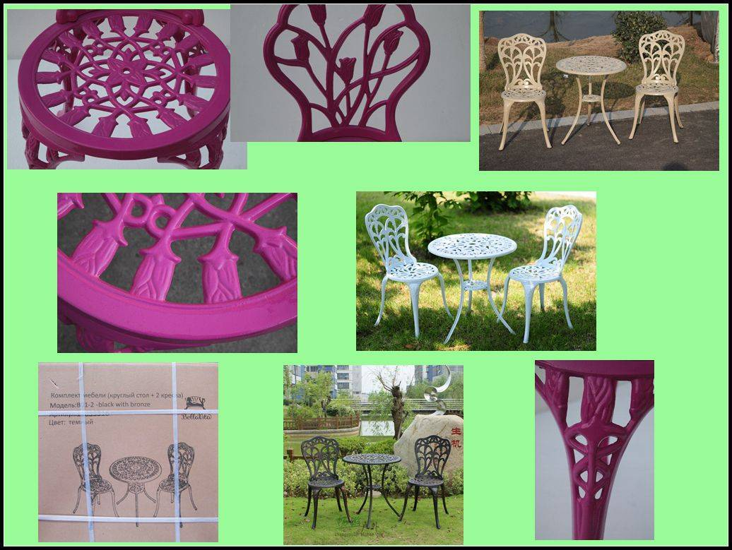 Hot garden cast aluminium 3 pc bistro set,table and chair with latest tulip design