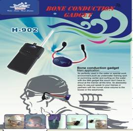 Bone conduction headset gadget for teaching and training in water