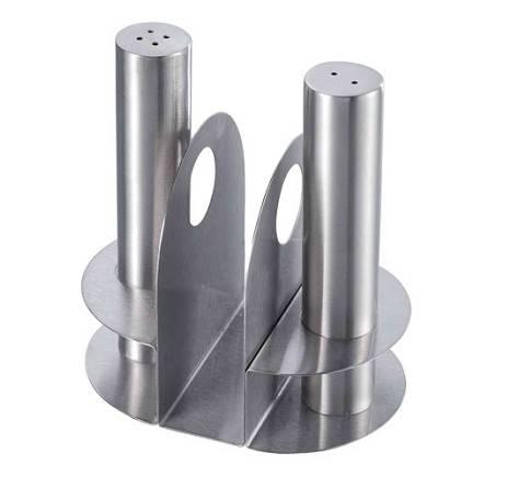 sell Tube-Shape Condiment Set with Holder, stainless steel pepper shaker, stainless steel caster