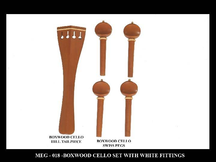Boxwood Cello Set with White fittings.