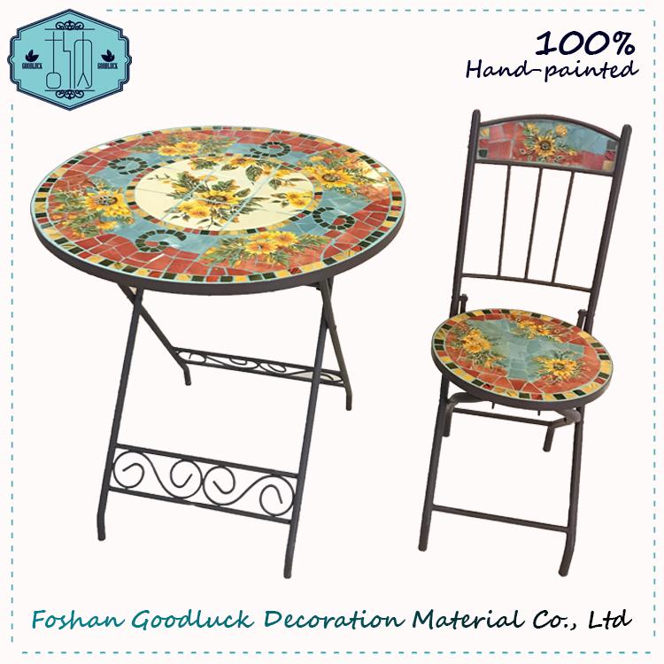 Hand Painted Flower Ceramic Mosaic Top Metal Patio Bistro Garden Set