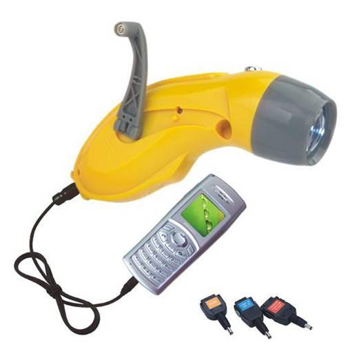 FL-269 Wind-up Flashlight with Charger for Cellphone, 1pcs Ultra-bright LED lighting DC dynamo