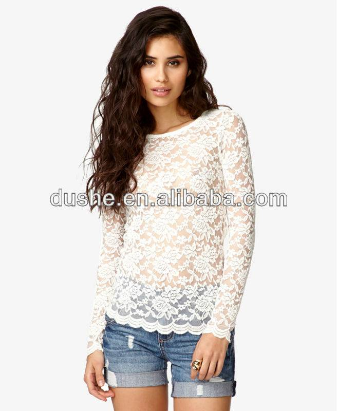 Long Sleeve Ladies Elegant White Lace Top Blouse S303058