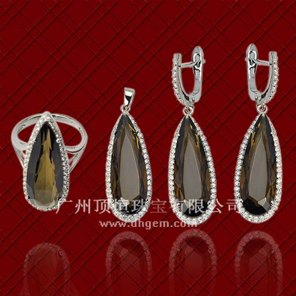 Wholesale Popular Fashion Pear Shape Smoky Quartz Stone 925 Sterling Silver Jewelry Set