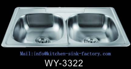 WY-3322 High standard 20 gauge double bowl farmhouse stainless steel sink from Foshan factory