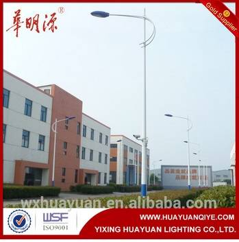 galvanised single arm street light poles