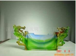 liu li artwork-colored glaze business card desktop holder