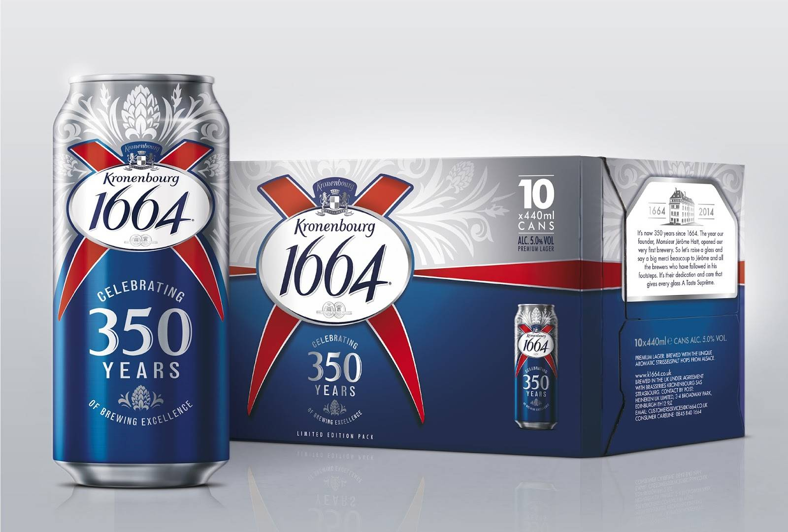 KRONENBOURG BLANC 1664 BEER BOTTLE AND CANS
