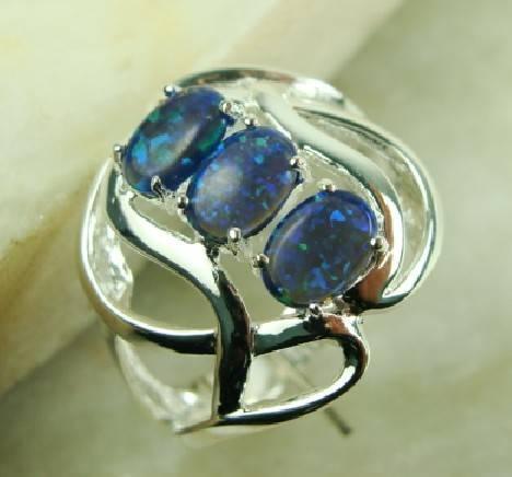 925 Sterling Silver Blue fire opal gemstone ring
