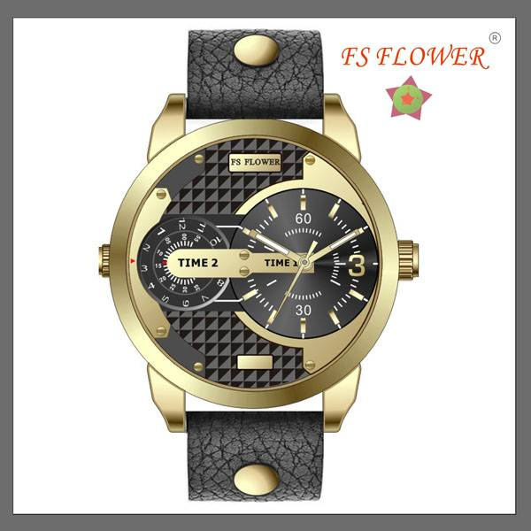 FS FLOWER --- Genuine Leather Strap Gold Plated Watches Men
