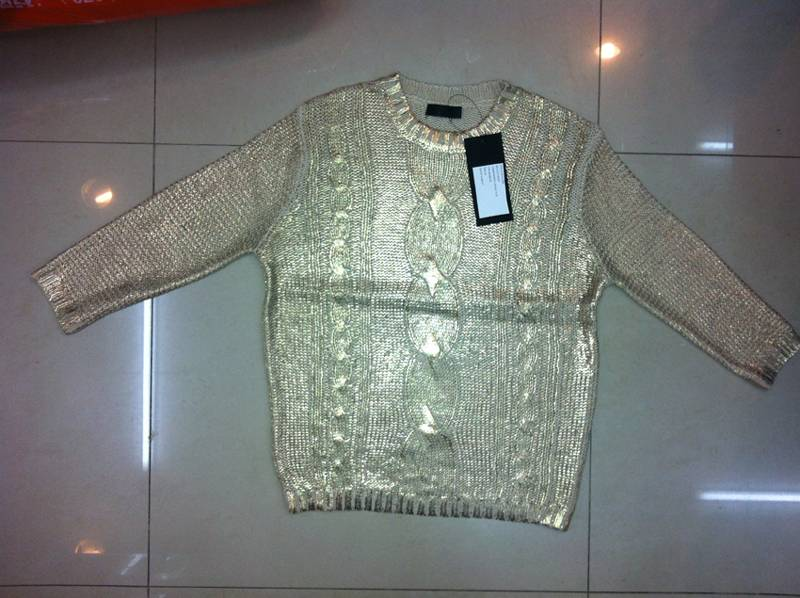 sweater with foil printed on