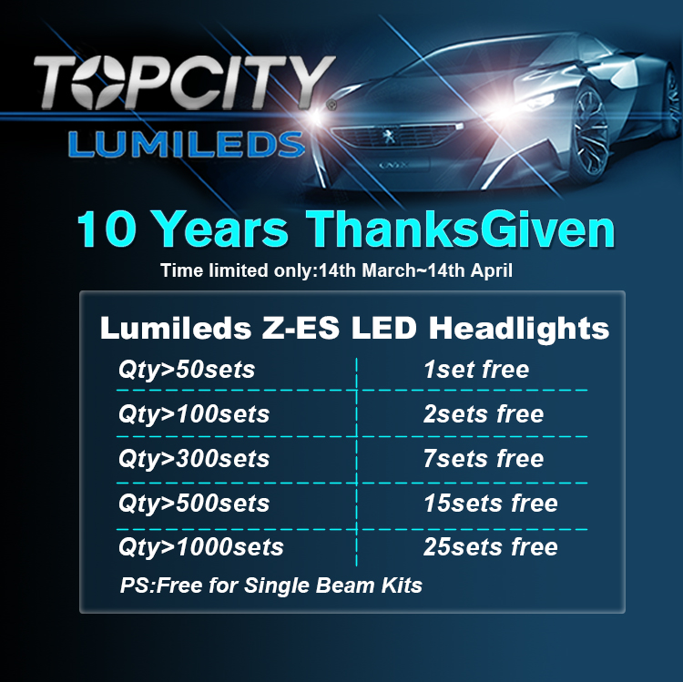 TOPCITY 10 Years Experience Auto LED Headlights Factory ThanksGiven Kits