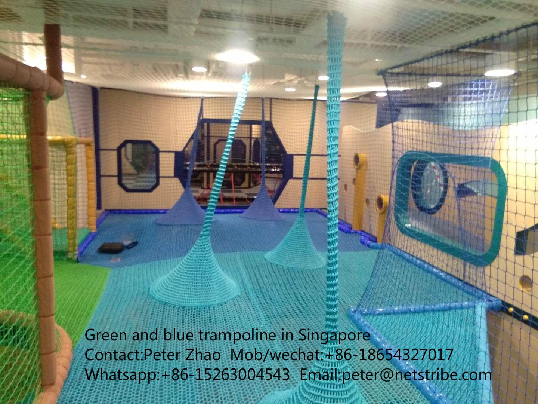 Crocheted polyester fibre rainbow trampoline indoor playground