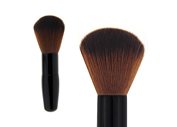 Mini Mini Contour Blush Brush Conical Brown Nylon Hair Cylindrical Ferrule Oval Handle Brush