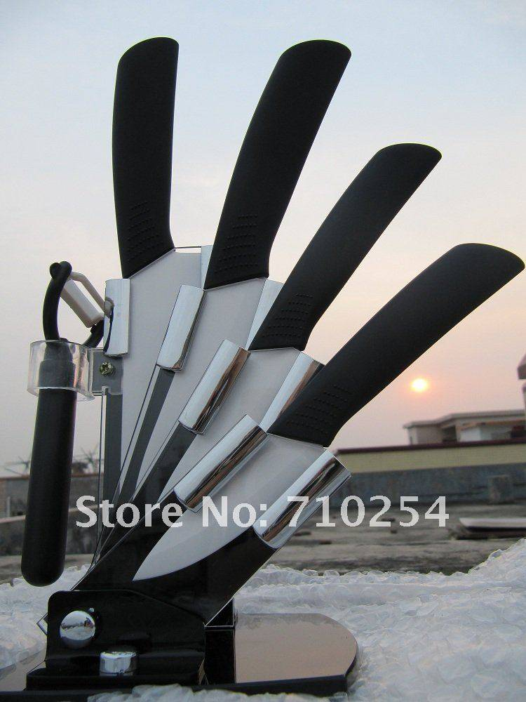 Free shipping Acrylic knife block and Zirconia ceramic knife 3+4+5+6 with ABS handle and Peeler