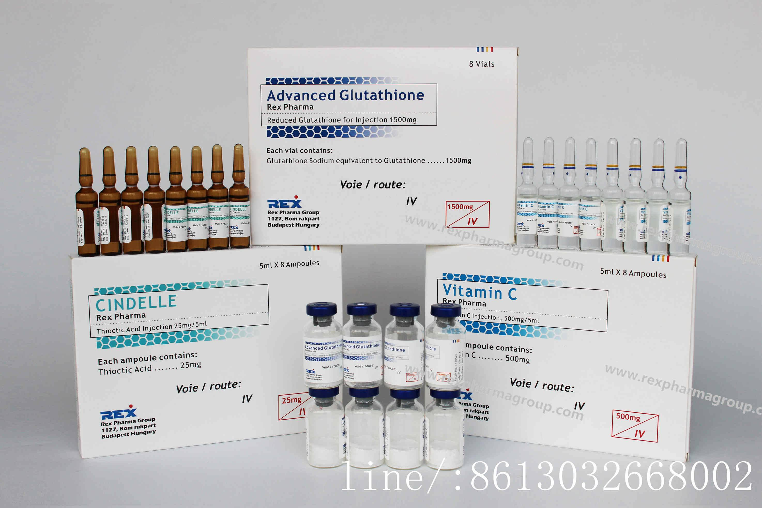 glutathione injection+cindelle injection+VC injection