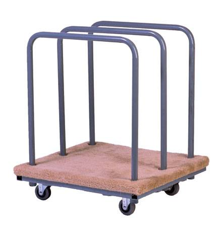 Panel cart with 6x2 grey TPR swivel casters with 3 removable bars