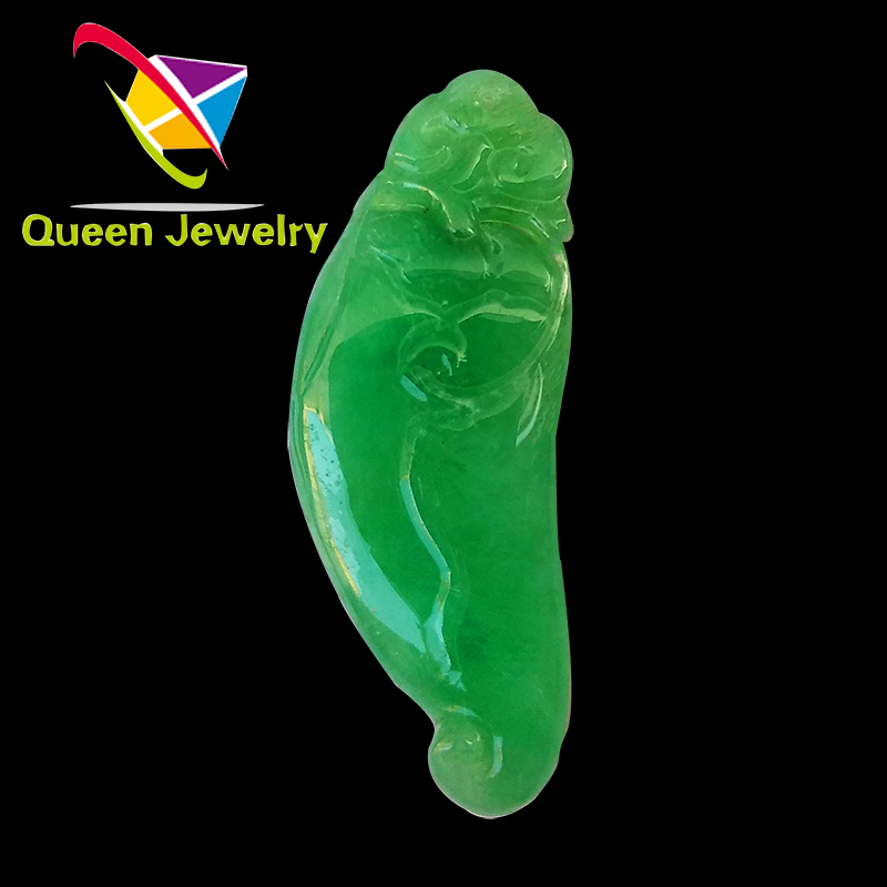 the jade pendant 2018 natural green jadeite emeralds carving 'good luck for you' highest grade jewel