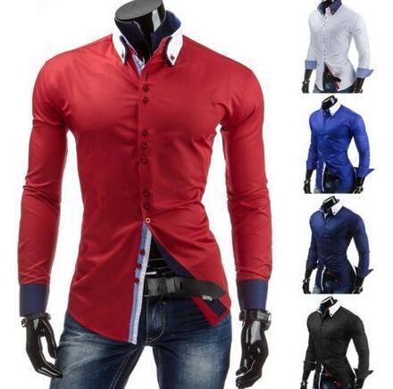 Stylish Italian style long sleeve latest design fashion black men's brand shirt