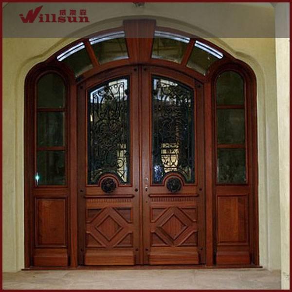 wrought iron wood door