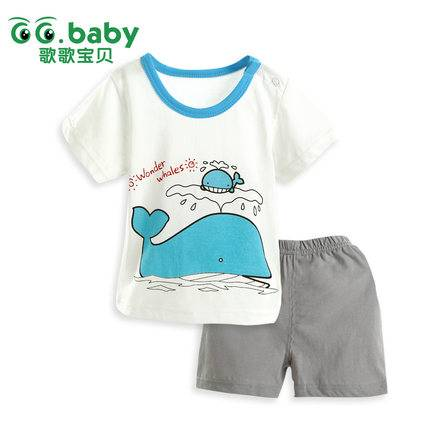 Fashion Whale Short Sleeve Tshirt+Pants Summer Baby Suits Cotton Newborn Baby Boy Girl Clothes Sets
